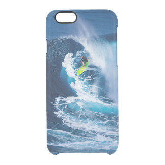 Surfer on Green Surfboard Clear iPhone 6/6S Case