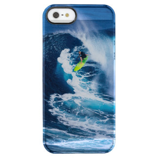 Surfer on Green Surfboard Clear iPhone SE/5/5s Case