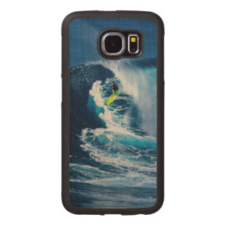 Surfer on Green Surfboard Wood Phone Case