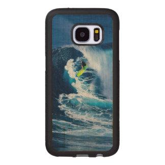 Surfer on Green Surfboard Wood Samsung Galaxy S7 Case
