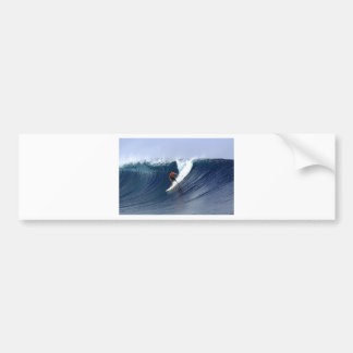 Surfer on wave surfing big blue tropical reef bumper stickers