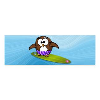 surfer owl mini business card