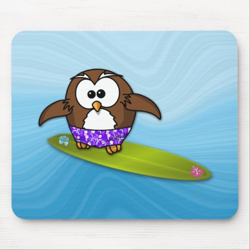 surfer owl mousepad