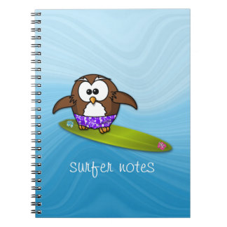 surfer owl notebook
