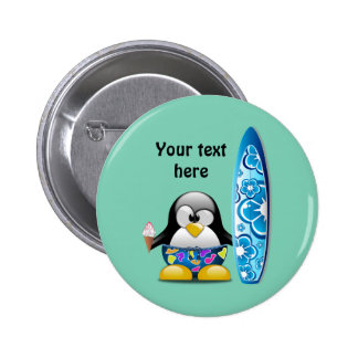 Surfer Penguin with Ice Cream 2 Inch Round Button