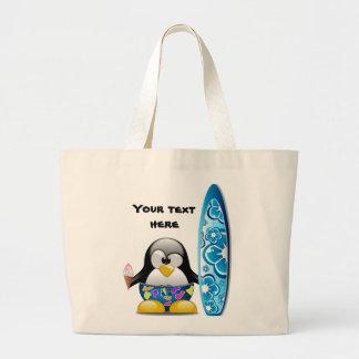 Surfer Penguin with Ice Cream Jumbo Tote Bag