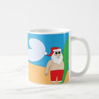 Surfer Santa Classic White Coffee Mug