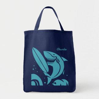 Surfer Shark custom name tote bags