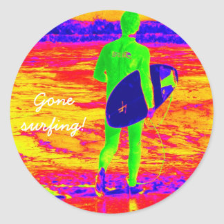 Surfer silhouette classic round sticker