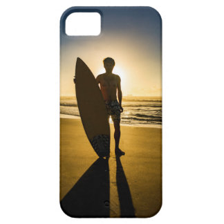 Surfer silhouette during sunrise iPhone 5 cases