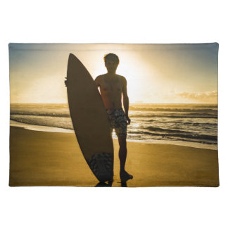 Surfer silhouette during sunrise placemat