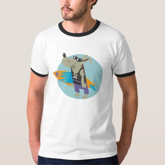 surfer skull dog man T-Shirt