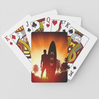 Surfer Sunset custom monogram playing cards