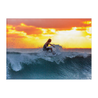 Surfer sunset indian ocean acrylic wall art