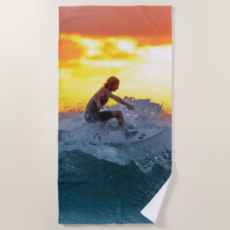 Surfer sunset indian ocean beach towel