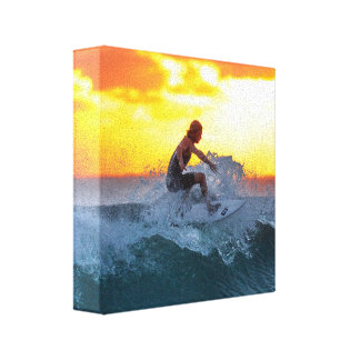 Surfer sunset indian ocean canvas print
