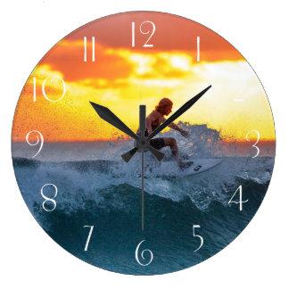 Surfer sunset indian ocean large clock