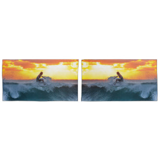 Surfer sunset indian ocean pillowcase