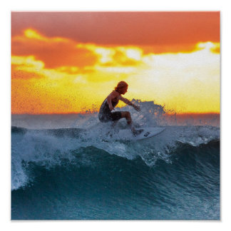 Surfer sunset indian ocean poster