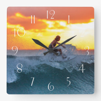 Surfer sunset indian ocean square wall clock