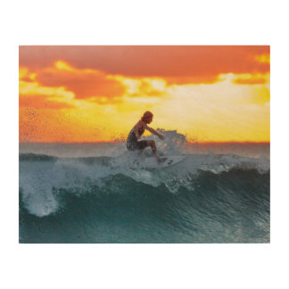 Surfer sunset indian ocean wood print
