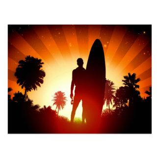 Surfer Sunset postcard