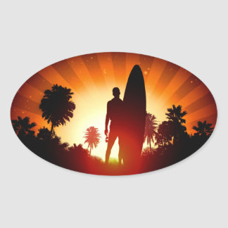 Surfer Sunset stickers