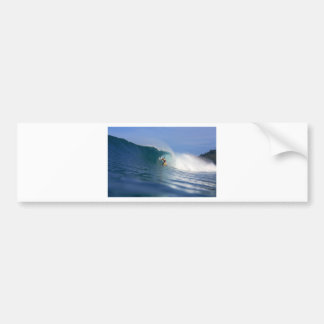 Surfer surfing large blue reef wave bumper stickers