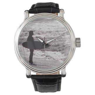 Surfer Surfing Ocean Beach Waves Sea California Wristwatch