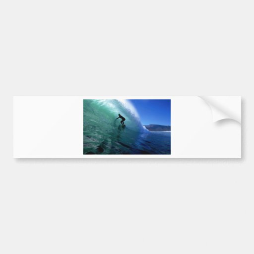 Surfer surfing the tube in green wave bumper sticker