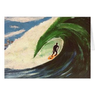 Surfer Surfing Tuberide painting greeting card art