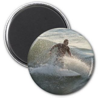 Surfer through wave spray 2 inch round magnet