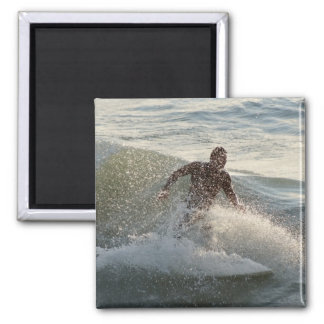 Surfer through wave spray square magnet