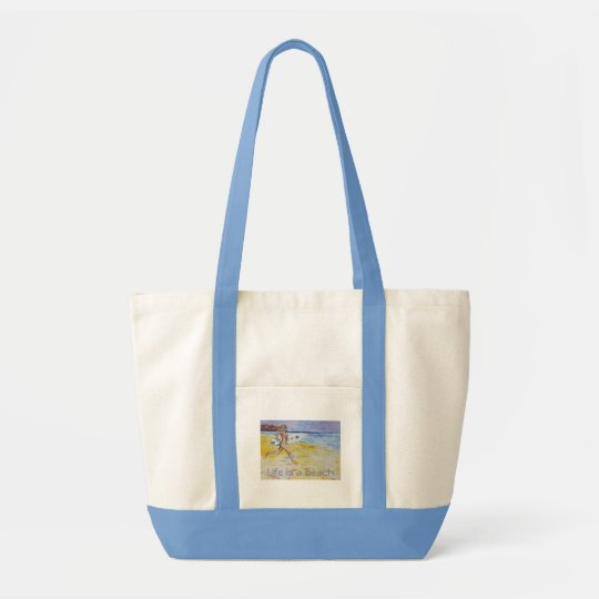 SURFER TOTE BAG. SURFER RUNNING AT THE BEACH