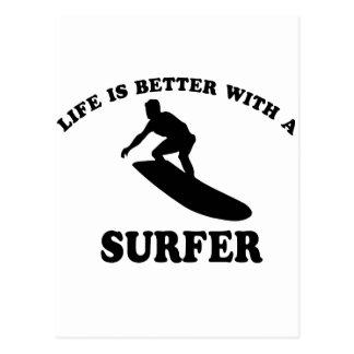 Surfer vector designs postcard