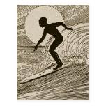 Surfer vintage carte postale