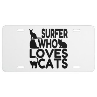 Surfer Who Loves Cats License Plate