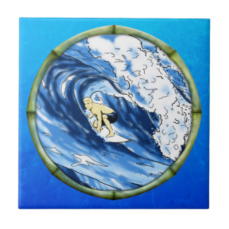 Surfer With Bamboo Frame Tile