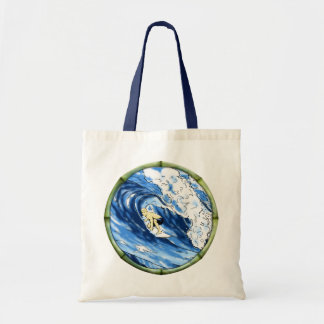 Surfer With Bamboo Frame Tote Bag