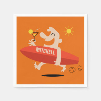 Surfer with Cocktail custom name paper napkins