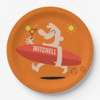 Surfer with Cocktail custom name paper plates