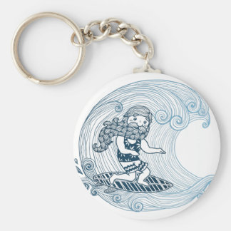Surfer with long beard basic round button keychain