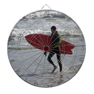 Surfer with surf board with waves dartboard
