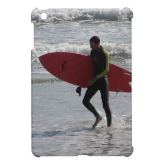Surfer with surf board with waves iPad mini cover