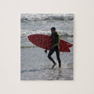 Surfer with surf board with waves jigsaw puzzle