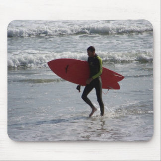 Surfer with surf board with waves mouse pad