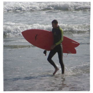 Surfer with surf board with waves napkin