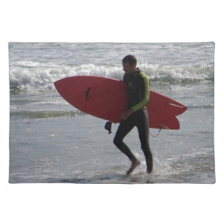 Surfer with surf board with waves placemat