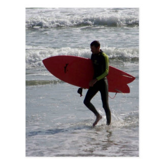 Surfer with surf board with waves postcard