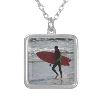 Surfer with surf board with waves silver plated necklace